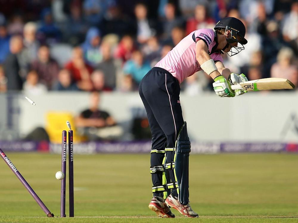 Nick Gubbins is bowled by Richard Gleeson during the NatWest T20 Blast quarter-final match between Northamptonshire Steelbacks and Middlesex last August (Getty)