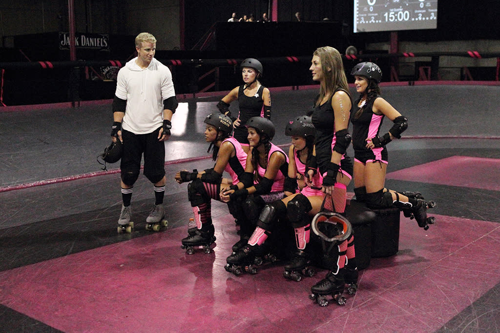 """""""Episode 1704"""" - A gritty warehouse is the location for a topsy-turvy roller derby with Sean and eight of the bachelorettes. Sarah faces another physical challenge that causes her to have emotional breakdown, but Sean proves to be supportive and helps her to try and overcome her fears. All of the women push themselves past their limits until one woman falls hard and is rushed to the hospital. At the after party that night, fireworks erupt as Robyn and Tierra clash, leading one of them to storm off, threaten to leave and then dissolve in tears. It's up to Sean again to comfort the distraught woman and to figure out if the tears are genuine or crocodile, meant to manipulate him into giving her a rose, on """"The Bachelor."""""""
