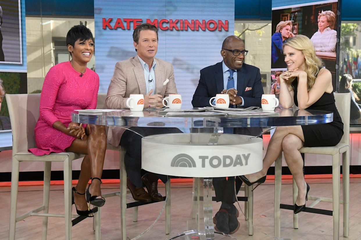 "Anchors Tamron Hall, Billy Bush and Al Roker with Kate McKinnon on ""Today"" in 2016. (Photo: NBC via Getty Images)"