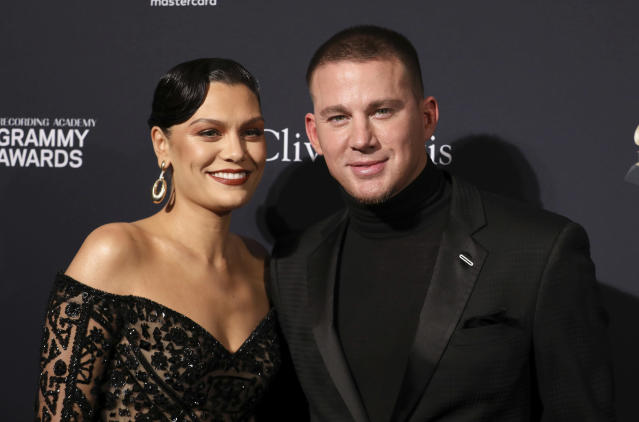 Jessie J, left, and Channing Tatum arrive at the Pre-Grammy Gala And Salute To Industry Icons at the Beverly Hilton Hotel on Saturday, Jan. 25, 2020, in Beverly Hills, Calif. (Photo by Mark Von Holden/Invision/AP)
