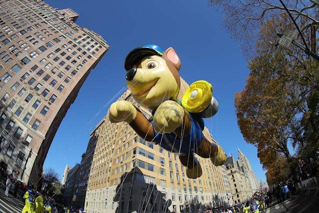 "<p>Nickelodeon's ""Paw Patrol's"" Chase balloon makes its debut at the 91st Macy's Thanksgiving Day Parade in New York, Nov. 23, 2017. Chase's cap could cover an NYPD squad car. (Photo: Gordon Donovan/Yahoo News) </p>"