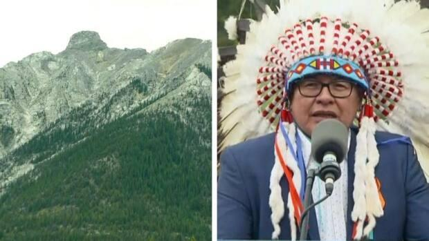 Chief Aaron Young of Chiniki First Nation says this peak near Canmore, newly renamed as Bald Eagle Peak, or Anû Kathâ Îpa, honours First Nations women.   (CBC - image credit)