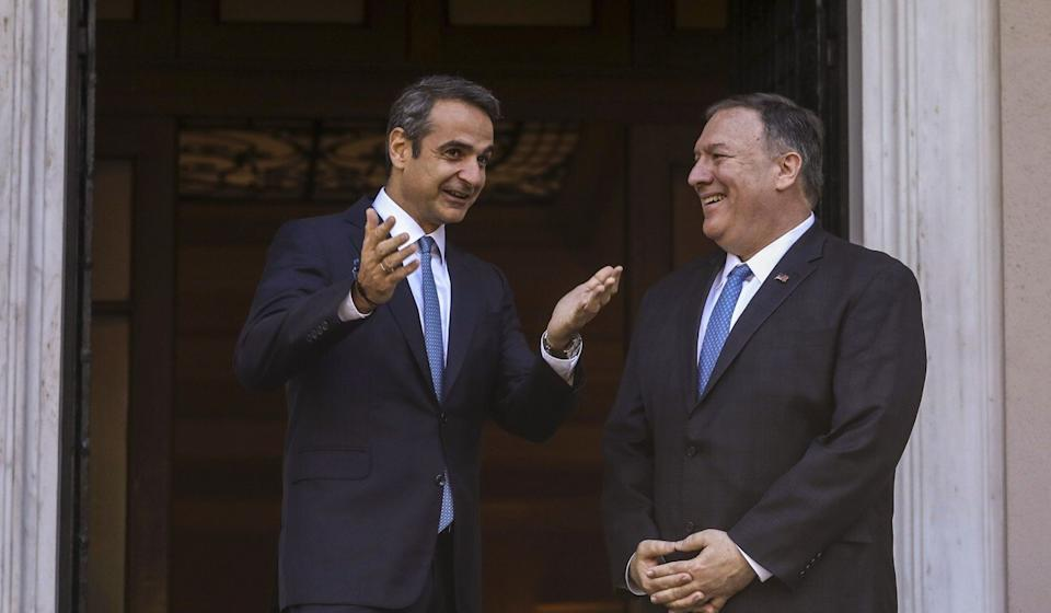Kyriakos Mitsotakis, Greece's prime minister, with US Secretary of State Mike Pompeo. Photo: Bloomberg