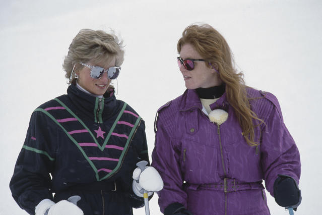 Sisters-in-law Sarah Ferguson and Diana, Princess of Wales, on a Switzerland ski trip in 1988.