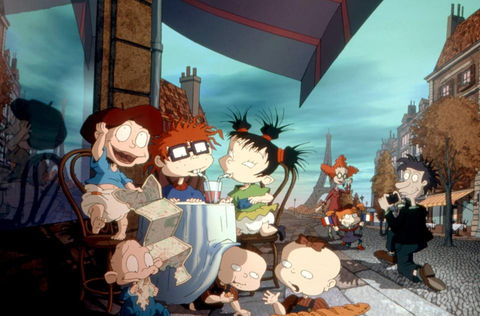 """<p><strong>What it's about:</strong> """"The Rugrats take to the big screen and visit Paris when Mr. Pickles gets summoned to fix a giant robot at the EuroReptarland theme park.""""</p> <p><a href=""""https://www.netflix.com/title/60003540"""" class=""""link rapid-noclick-resp"""" rel=""""nofollow noopener"""" target=""""_blank"""" data-ylk=""""slk:Stream Rugrats in Paris the Movie on Netflix!""""> Stream <strong>Rugrats in Paris the Movie</strong> on Netflix!</a></p>"""