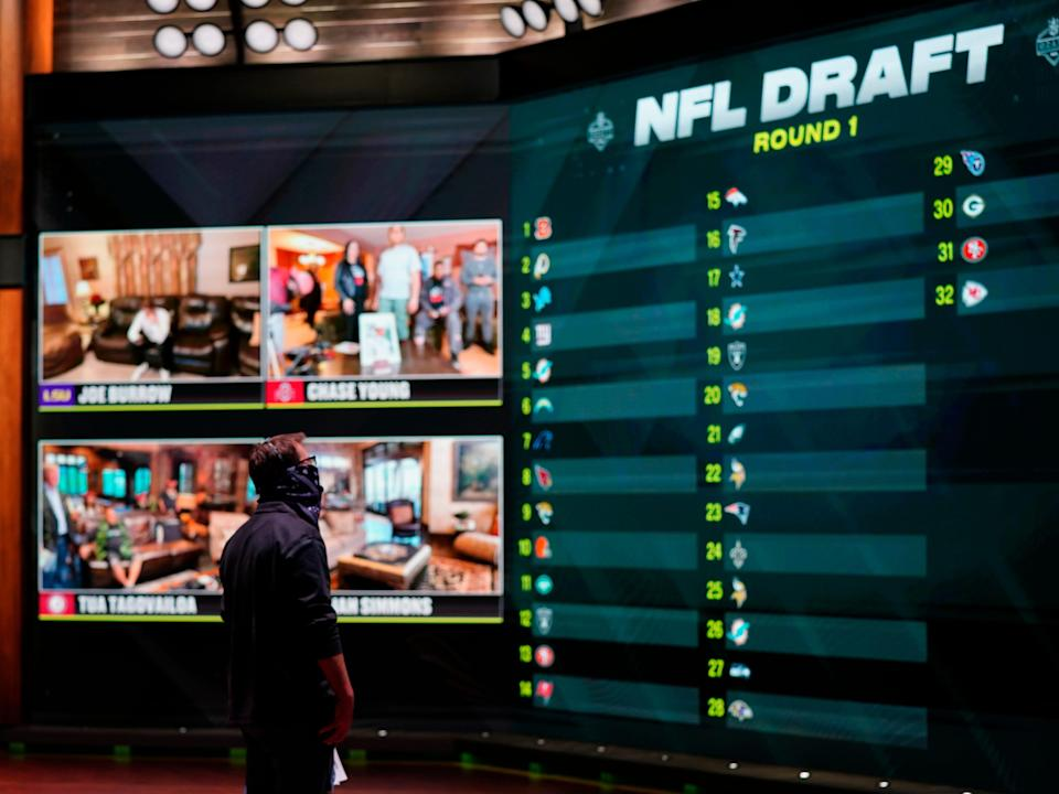 In a photo provided by ESPN Images, the draft board is seen before the start of the NFL football draft, Thursday, April 23, 2020, in Bristol, Conn. (Allen Kee/ESPN Images via AP)
