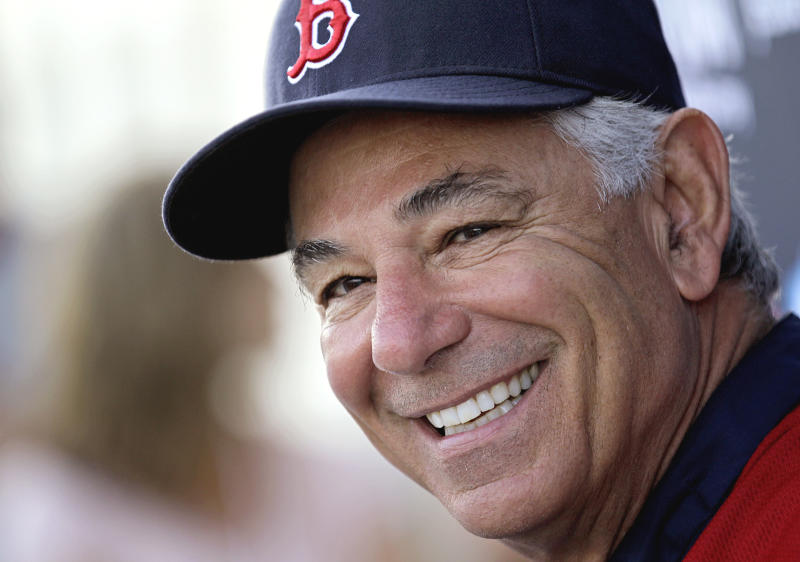 Boston Red Sox manager Bobby Valentine speaks during a news conference as pitchers and catchers officially report to baseball spring training on Sunday, Feb. 19, 2012, in Fort Myers, Fla. (AP Photo/David Goldman)