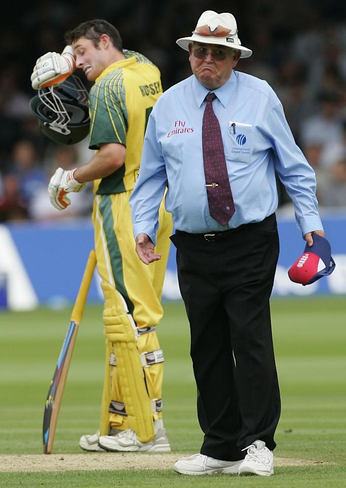 LONDON - JULY 02:  Umpire David Shepher looks to the members as play is halted due to spectators moving behind the bowlers arm during the NatWest Series Final between England and Australia played at Lord's Cricket Ground on July 2, 2005 in London, United Kingdom  (Photo by Hamish Blair/Getty Images)