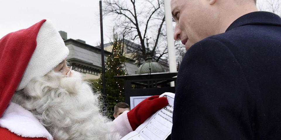 <p>Prince William shares a Christmas wish list from Prince George to Santa Claus as he visits the Manta's Market winter fair in Helsinki, Finland. </p>