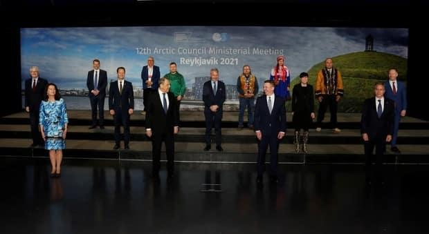 Ministers and Permanent Participants pose for a group photo at the end of the 12th Arctic Council Ministerial Meeting in Iceland. (Icelandic Ministry for Foreign Affairs/Gunnar Vigfússon - image credit)