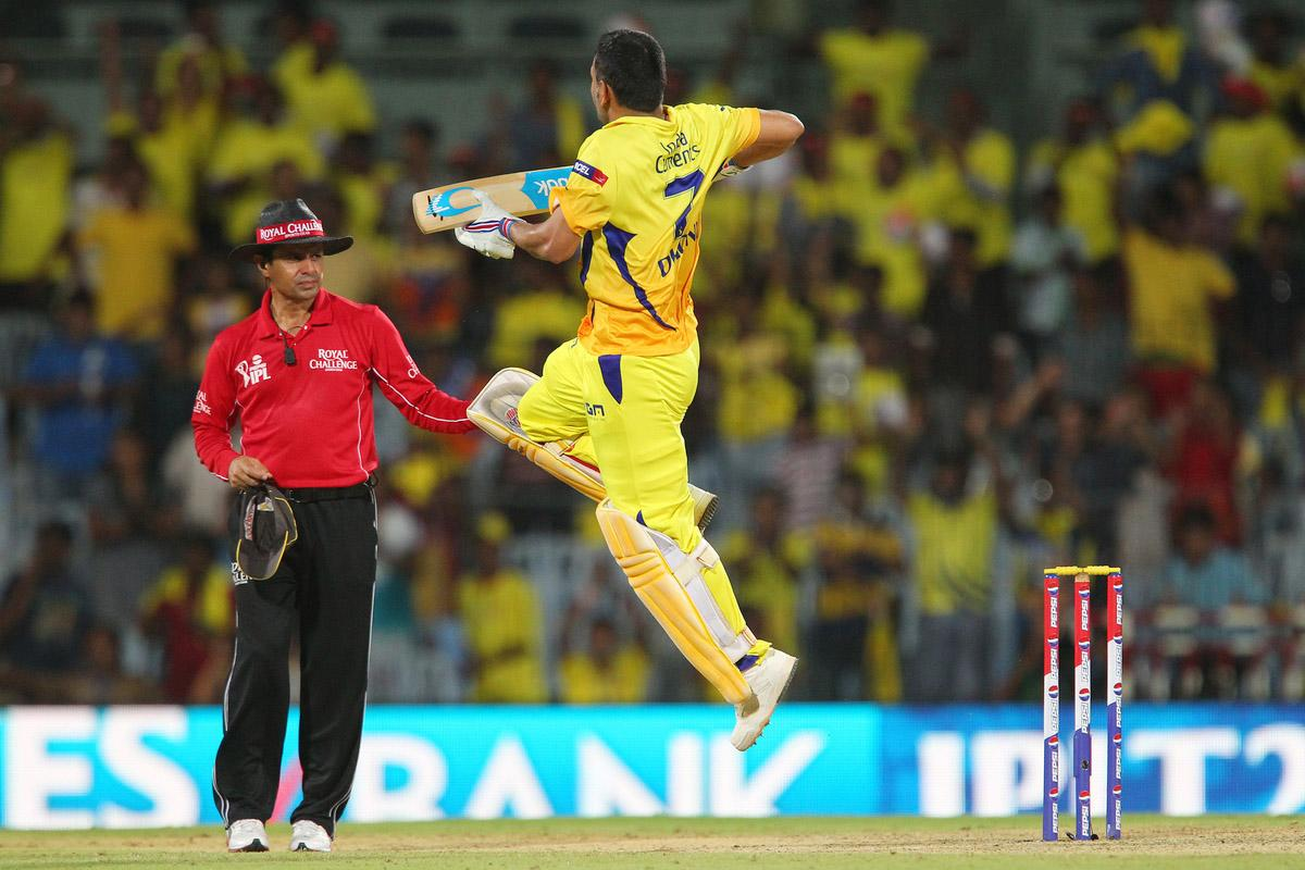 MS Dhoni celebrates the win during match 34 of the Pepsi Indian Premier League between The Chennai Superkings and the Sunrisers Hyderabad held at the MA Chidambaram Stadiumin Chennai on the 25th April 2013. (BCCI)