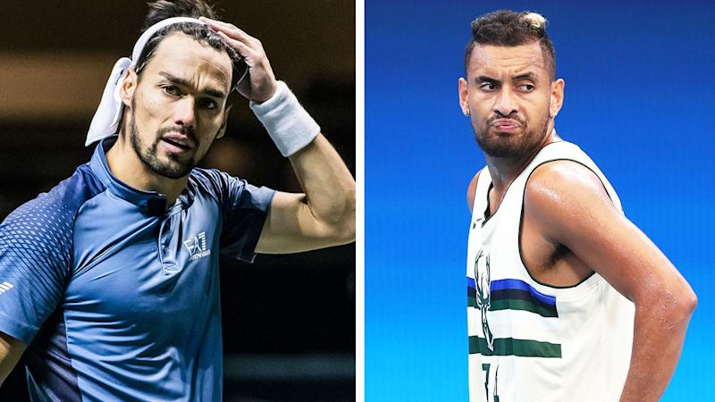 Italian Fabio Fognini (pictured left) taking off his sweatband and Nick Kyrgios (pictured right) during training.