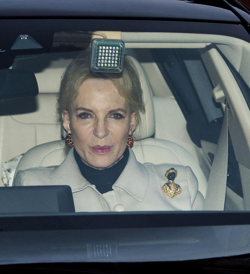 """<p>Rightfully so, Princess Michael of Kent received a lot of backlash for wearing a <a href=""""https://www.townandcountrymag.com/society/a14505292/princess-michael-of-kent-apologizes-for-racist-brooch/"""" rel=""""nofollow noopener"""" target=""""_blank"""" data-ylk=""""slk:racist Blackamoor brooch"""" class=""""link rapid-noclick-resp"""">racist Blackamoor brooch</a> to the palace's Christmas brunch in 2017. The piece of jewelry sparked controversy, especially since Prince Harry's biracial fiancée, Meghan Markle, attended the event.</p>"""