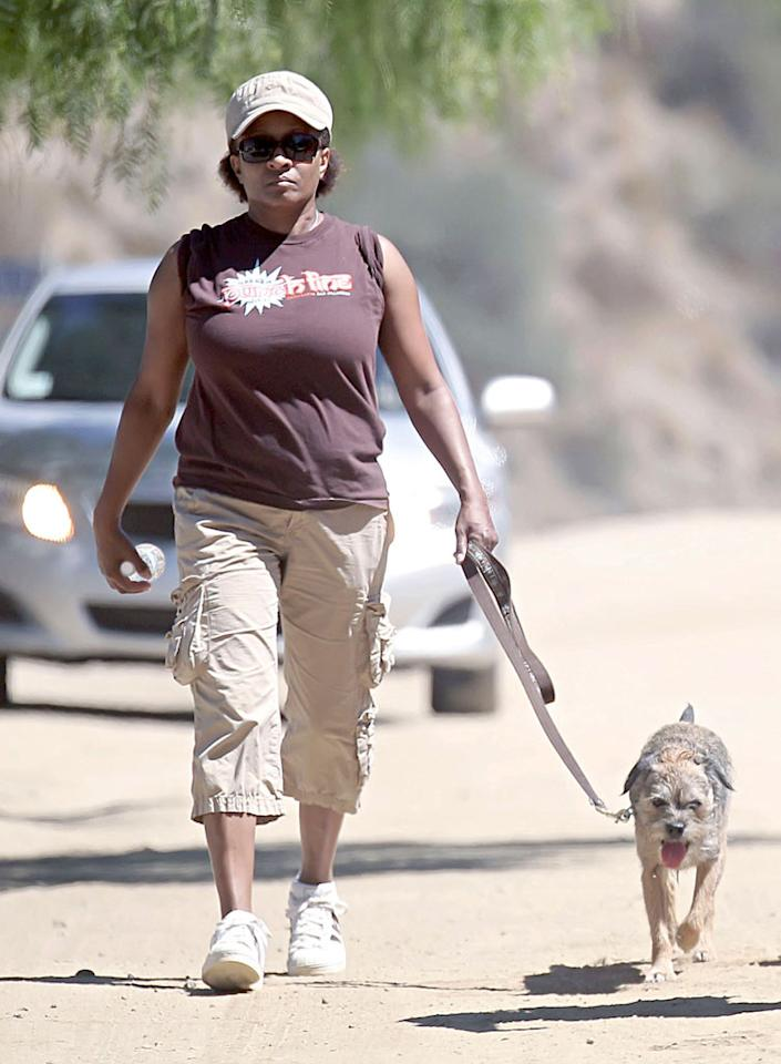 """Funny lady Wanda Sykes looked very serious while hiking with her pooch over Labor Day Weekend. <a href=""""http://www. PacificCoastNews.com"""" target=""""new"""">PacificCoastNews.com</a> - September 5, 2010"""