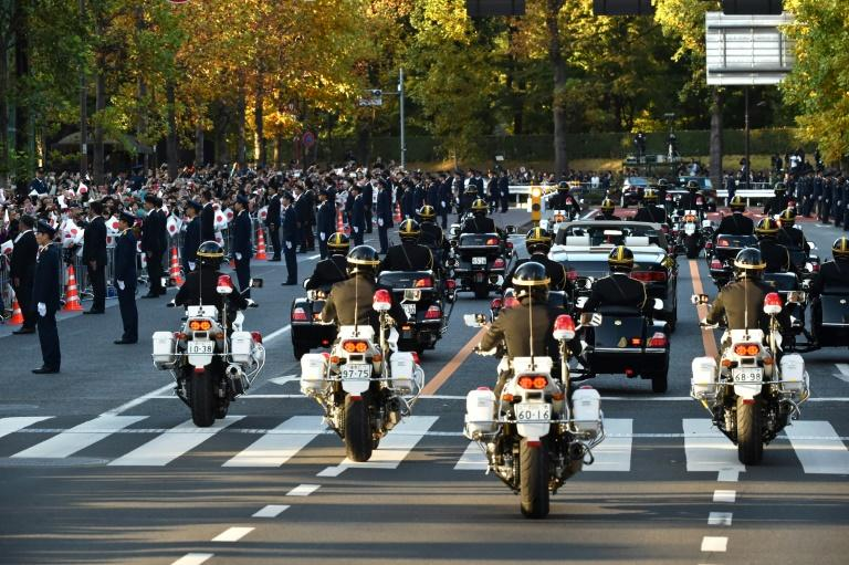 Security was tight for the imperial parade (AFP Photo/Kazuhiro NOGI)
