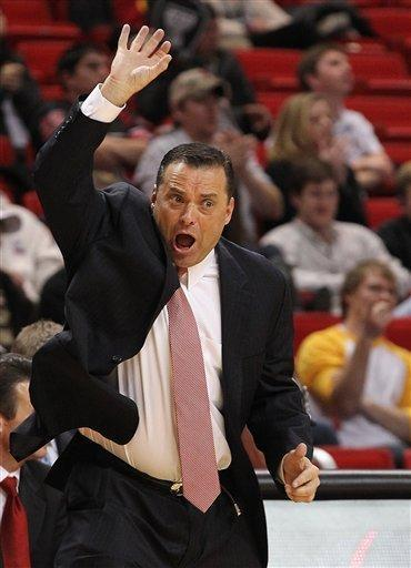 Texas Tech head coach Billy Gillispie yells instructions against Oklahoma during their NCAA college basketball game in Lubbock, Texas, Saturday, Feb. 11, 2012. (AP Photo/Lubbock Avalanche-Journal, Zach Long) ALL LOCAL TV OUT