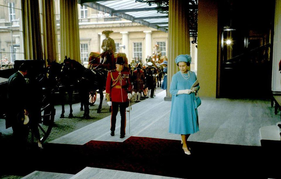 <p>The couple had their reception at Charles' home, which just so happens to be Buckingham Palace. The Queen was one of the first to arrive. </p>