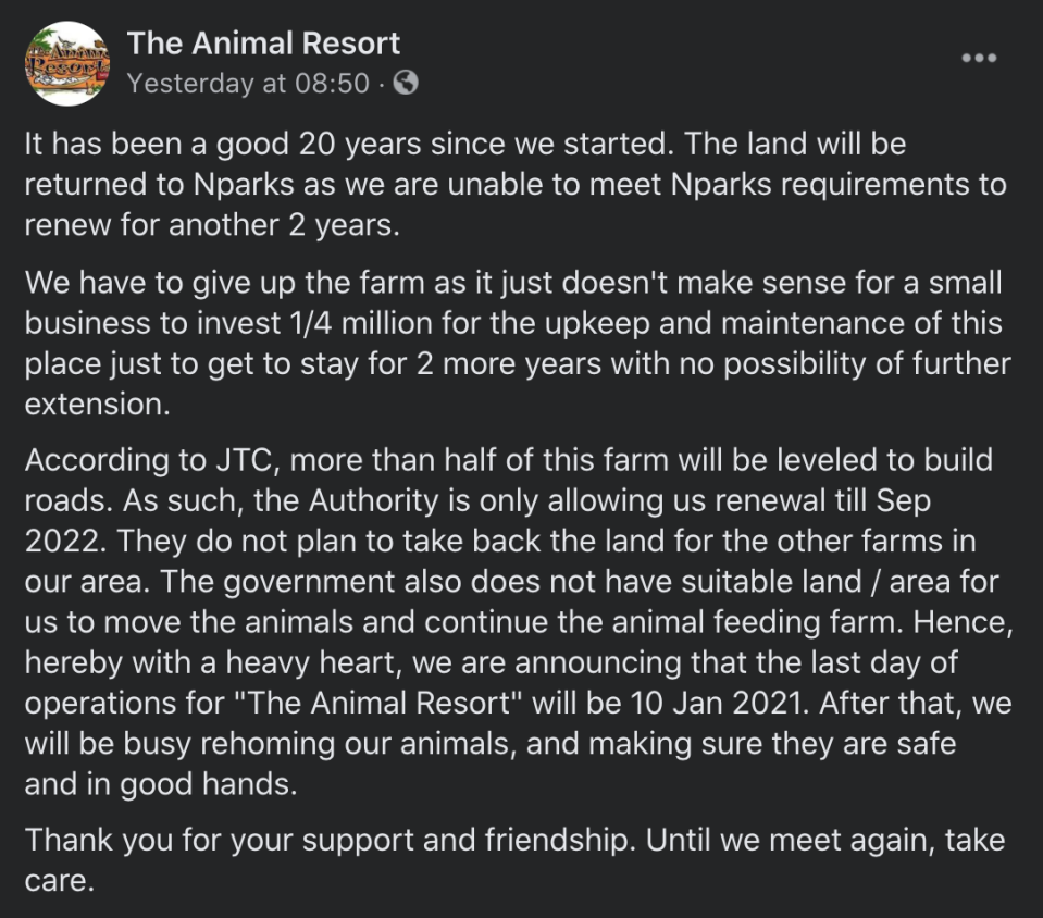 Statement by The Animal Resort on 3 December 2020.