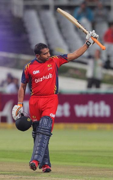 CAPE TOWN, SOUTH AFRCA - OCTOBER 16:  Gulam Bodi celebrates reaching his 50 during the Karbonn Smart CLT20 match between Chennai Super Kings (IPL) and Highveld Lions (South Africa) at Sahara Park Newlands on October 16, 2012 in Cape Town, South Africa.  (Photo by Carl Fourie/Gallo Images/Getty Images)