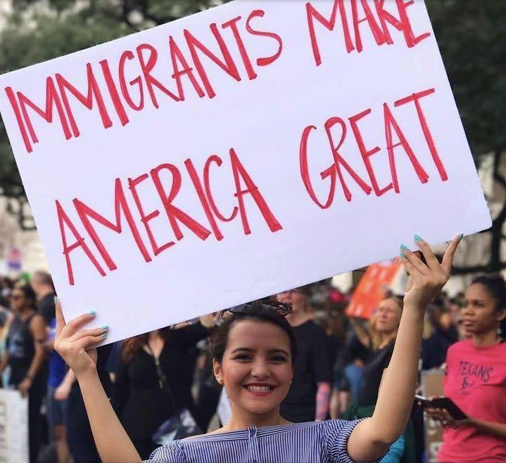 """When Valeria Alvarado found out Trump had asked that&nbsp;a weekly list of crimes committed by undocumented immigrants be published,&nbsp;she knew it would&nbsp;""""<a href=""""http://www.huffingtonpost.com/entry/teen-plans-to-tell-the-immigrant-stories-trumps-administration-never-would_us_5893856fe4b06f344e409326"""" rel=""""nofollow noopener"""" target=""""_blank"""" data-ylk=""""slk:unfairly define a community of over 11 million people by the actions of a few.&quot;&nbsp;"""" class=""""link rapid-noclick-resp"""">unfairly define a community of over 11 million people by the actions of a few.""""&nbsp;</a><br><br>That's when the 19-year-old Villanova University student decided to create&nbsp;<a href=""""https://www.facebook.com/WeTooAreAmerica/"""" rel=""""nofollow noopener"""" target=""""_blank"""" data-ylk=""""slk:&quot;We, Too, Are America&quot;"""" class=""""link rapid-noclick-resp"""">""""We, Too, Are America""""</a> and share positive and inspiring immigrant stories on Facebook to counter Trump's list."""