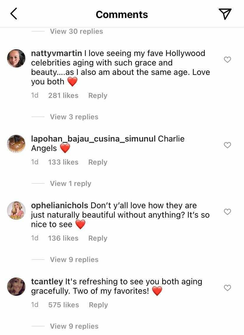"""Screenshots from Drew Barrymore's Instagram comments show fans supporting her and Cameron Diaz's """"unedited"""" selfie."""