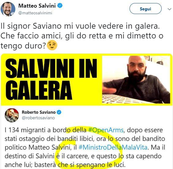 Saviano-Salvini: botta e risposta su Open Arms