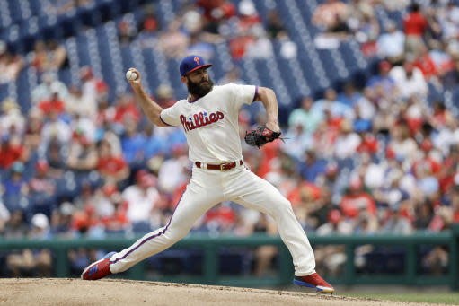Philadelphia Phillies' Jake Arrieta pitches during the second inning of a baseball game against the St. Louis Cardinals, Wednesday, June 20, 2018, in Philadelphia. (AP Photo/Matt Slocum)