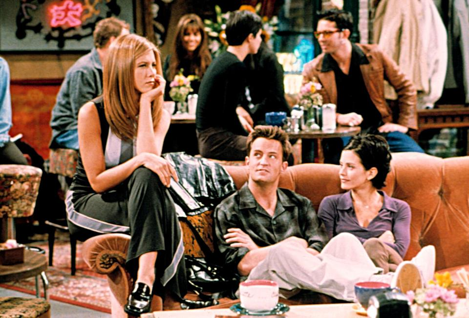 FRIENDS, Jennifer Aniston, Matthew Perry, Courteney Cox, 1994-present, episode The One with Joey's New Girlfriend aired 10/30/1997, ep405
