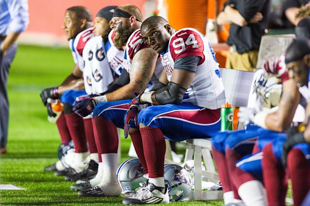 Michael Sam played just one game for the Montreal Alouettes, his only regular-season action as a professional football player. (Getty Images)