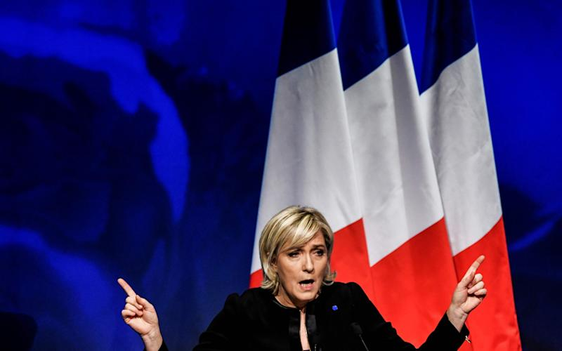 Head of the French far-right party Front National (FN) and presidential candidate Marine Le Pen. - Credit: AFP