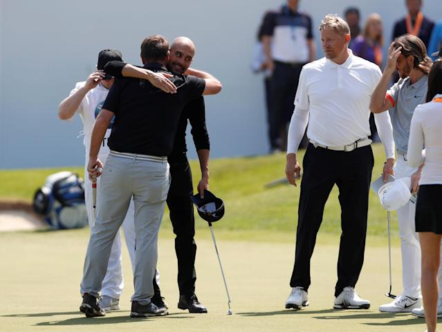 Golf - European Tour - BMW PGA Championship - Wentworth Club, Virginia Water, Britain - May 23, 2018 Manchester City manager Pep Guardiola and Former footballer Peter Schmeichel during the pro-am Action Images via Reuters/Paul Childs