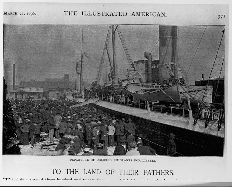 African-American emigrants depart for Liberia on the steamship Laurada, Savannah, Ga., March 1, 1896. | Library of Congress/Corbis/VCG via Getty Images
