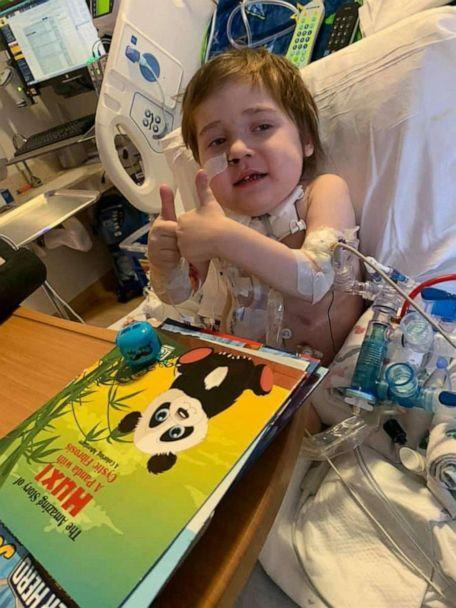 PHOTO: A little boy named Noah Schneider, 5, who's currently hospitalized with COVID-19, is requesting for people to send him stickers and notes of encouragement as he nears the end of his fight with COVID-19. (Haley Schneider)