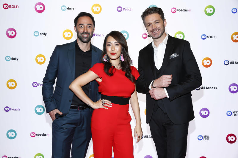 New Master Chef judges Andy Allen, Melissa Leong and Jock Zonfrillo during the Network 10 Melbourne Upfronts 2020 on October 11, 2019 in Melbourne, Australia.