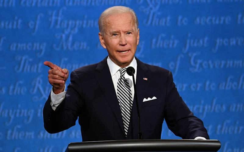 Democratic Presidential candidate and former US Vice President Joe Biden speaks during the first presidential debate at the Case Western Reserve University and Cleveland Clinic in Cleveland, Ohio on September 29, 2020 - GETTY IMAGES