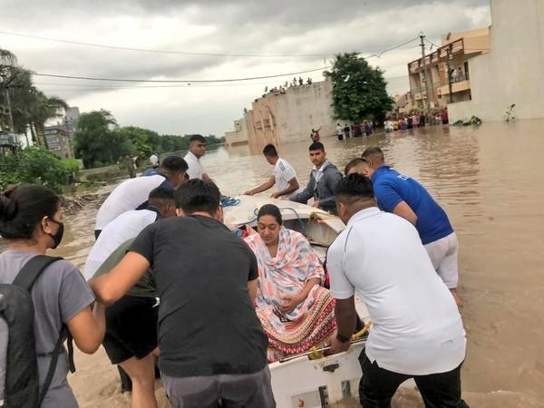 Visual of flood rescue operations in Rajkot (Photo/ANI)