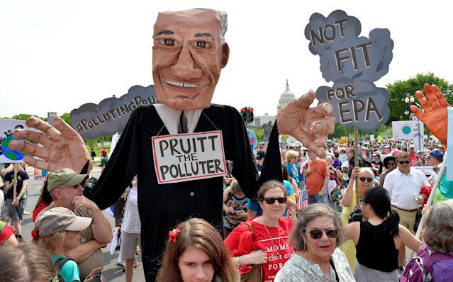 "<span class=""s1"">A giant puppet depicting EPA Administrator Scott Pruitt joined the People's Climate March in Washington in April 2017. (Photo: Mike Theiler/Reuters)</span>"
