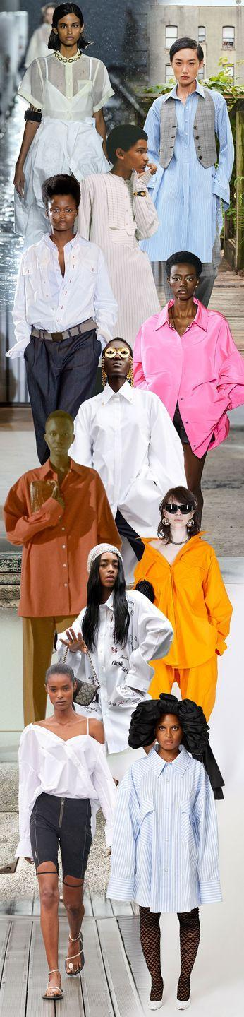 """<p>How passé to believe your oversized shirting is your """"husband's shirt,"""" your """"dad's shirt,"""" or """"borrowed from the boys."""" Let your double XL be yours and yours alone. The look is all about billowing silhouettes that take inspiration from standard poplins reimagined in bright shades of pink and orange, done up as dresses, shown extra long and extra wide, or with proportions that simply make you look twice.</p><p><em>Pictured from top to bottom: Sacai, Michael Kors Collection, Wales Bonner, Xuly Bët, Valentino, Schiaparelli, The Row, Balenciaga, Coach, Coperni, and Vaquera. </em></p>"""