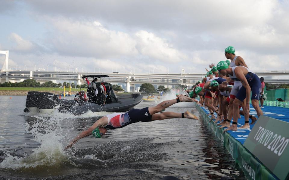 Half the field dived in while the others were blocked off by a boat - Reuters