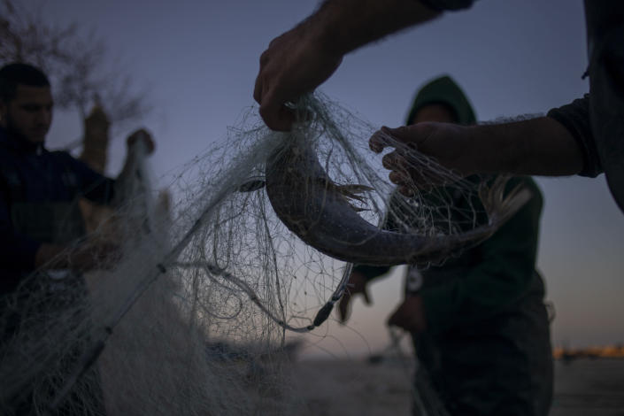 Fishermen remove fish from nets after returning from a fishing trip on the Mediterranean Sea, in the Israeli Arab village of Jisr al-Zarqa, Israel, in the early morning of Thursday, Feb. 25, 2021. After weathering a year of the coronavirus pandemic, an oil spill in the Mediterranean whose culprits remain at large delivered another blow for the fishermen of Jisr al-Zarqa. (AP Photo/Ariel Schalit)