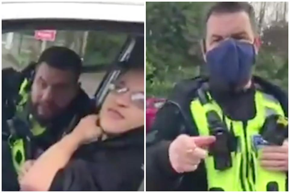 West Midlands Police has apologised for the 'unacceptable' behaviour of one of its officers after a man was stopped and threatened with arrest while on his way to work.
