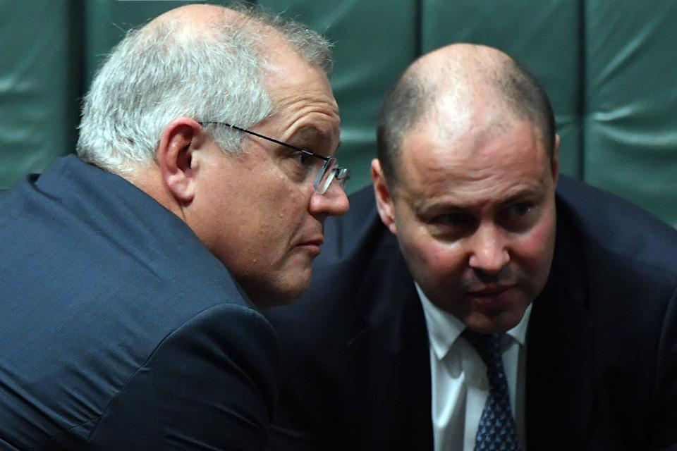 CANBERRA, AUSTRALIA - DECEMBER 07: Prime Minister Scott Morrison and Treasurer Josh Frydenberg during Question Time in the House of Representatives at Parliament House on December 07, 2020 in Canberra, Australia. The Federal Government will introduce its much-anticipated overhaul of industrial relations laws prompted by the upheaval of the coronavirus pandemic. The shake-up includes new arrangements for casual workers that could leave them with stronger rights for ongoing employment and limit employers' liability on paying casual leave loadings as well as paying other benefits however the legislation will not be voted on until 2021. (Photo by Sam Mooy/Getty Images)