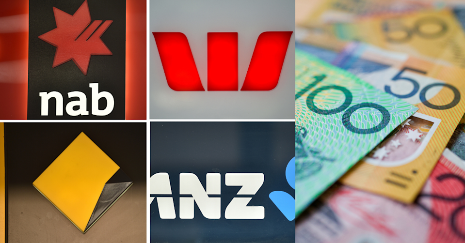 Logos of the big four banks with Australian cash