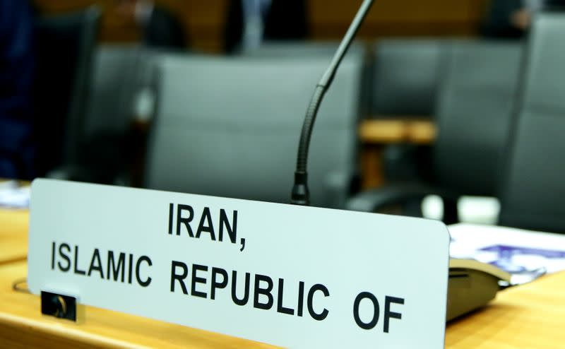 FILE PHOTO: Sign marks the seat of Iran's ambassador to IAEA ahead of a board of governors meeting in Vienna