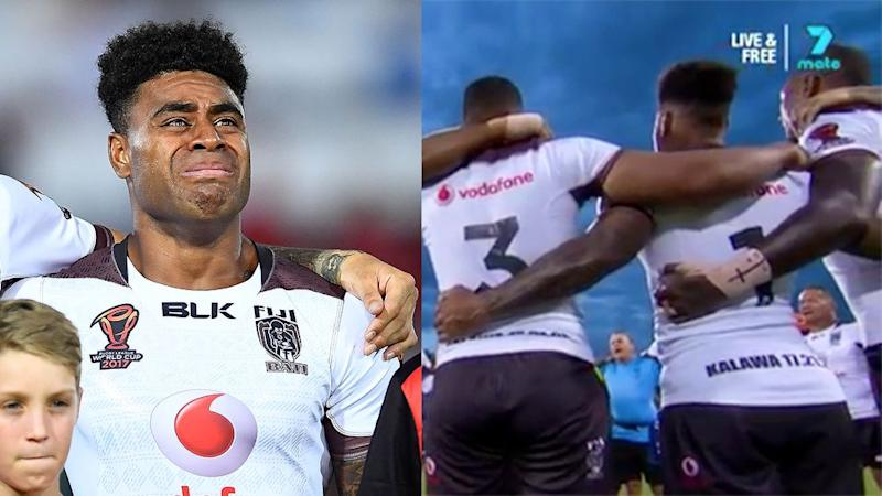 Fiji's players combine for a stirring rendition of their national hymn. Pic: Getty/Ch7