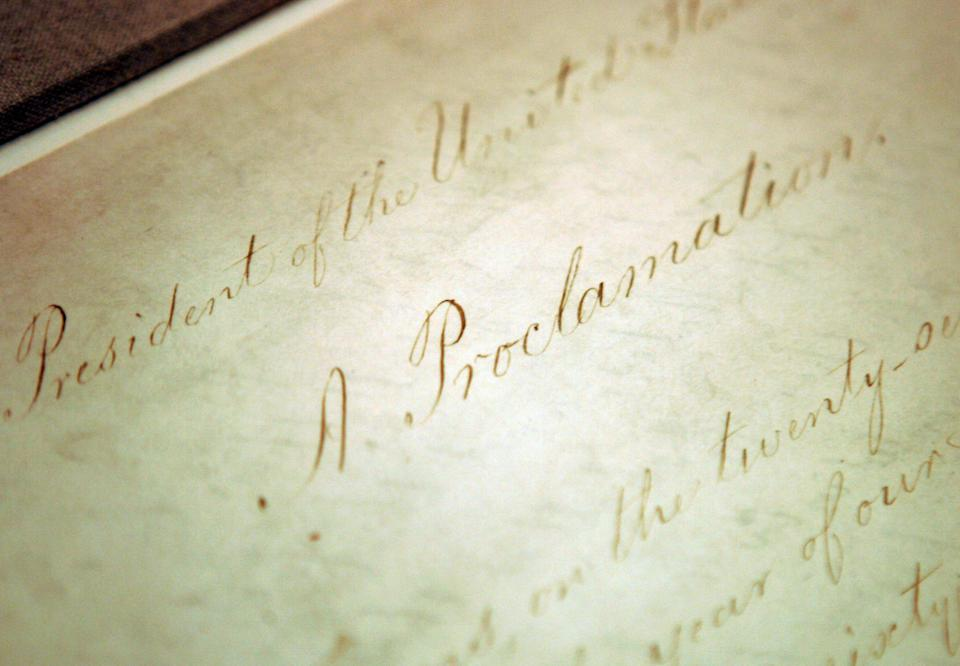 The original Emancipation Proclamation on display in the Rotunda of the National Archives in Washington.