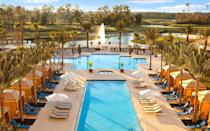 """<p>This Bonnet Creek resort boasts a golf club, on-site spa, kid's club, and multiple stunning pools, but it remains a luxury retreat at an affordable price. Attached to the <a href=""""https://www.hiltonbonnetcreek.com"""" rel=""""nofollow noopener"""" target=""""_blank"""" data-ylk=""""slk:Hilton Orlando Bonnet Creek"""" class=""""link rapid-noclick-resp"""">Hilton Orlando Bonnet Creek</a>, the Waldorf Astoria Orlando offers double the amenities and loads of dining, including Bull & Bear, a low-key favorite among Disney fans. Plan your vacation with ease knowing that <a href=""""https://www.waldorfastoriaorlando.com"""" rel=""""nofollow noopener"""" target=""""_blank"""" data-ylk=""""slk:Waldorf Astoria Orlando"""" class=""""link rapid-noclick-resp"""">Waldorf Astoria Orlando</a> rooms include select Disney benefits, including Extra Magic Hours and 60-day Fastpass+ booking, through 2020.</p>"""