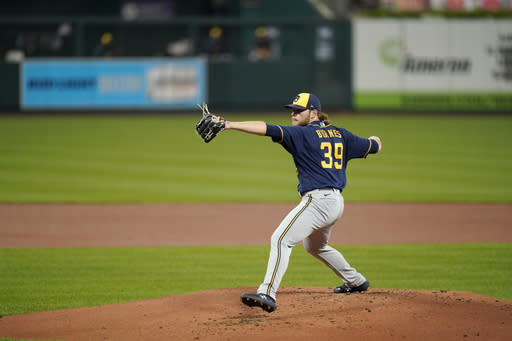 Brewers' Burnes goes on IL with strained left oblique