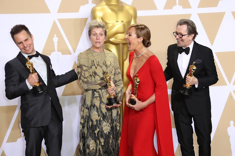 Frances McDormand (center left) poses with fellow acting Oscar winners Sam Rockwell, Allison Janney and Gary Oldman at the 90th Academy Awards in 2018.