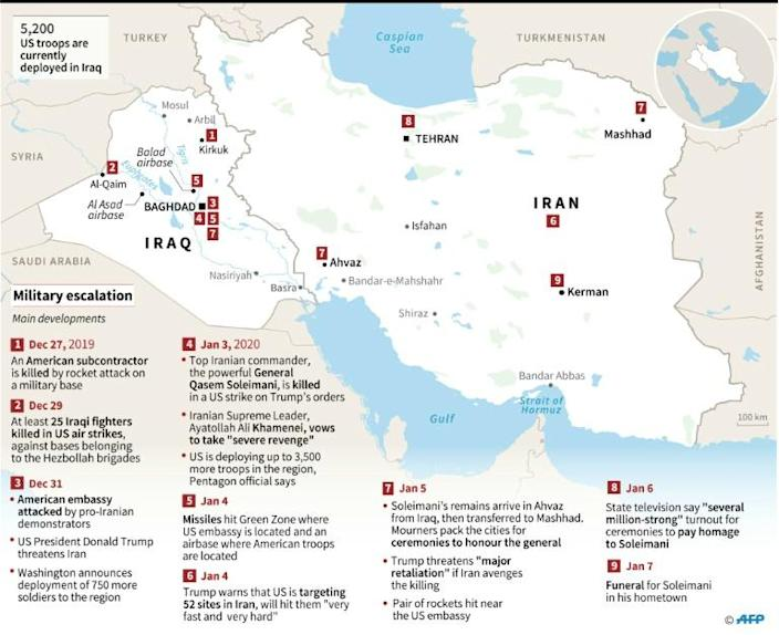 Map of Iran and Iraq showing developments in military escalation in which Iranian commander General Qasem Soleimani was killed in a US strike on the orders of Donald Trump. (AFP Photo/Gal ROMA)